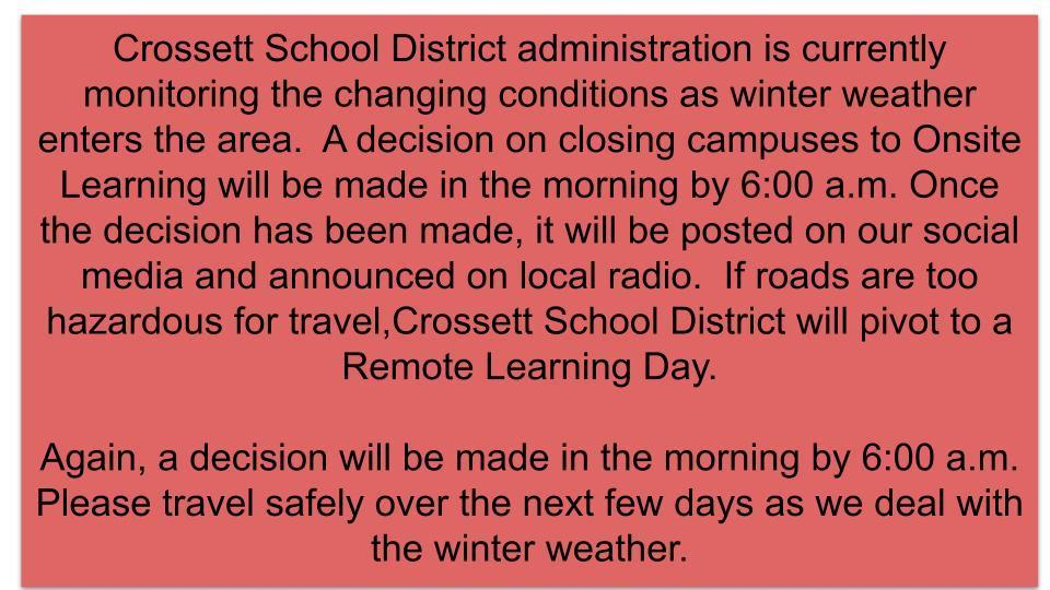 Message from CSD administration.