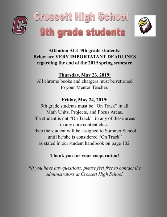 IMPORTANT ANNOUNCEMENT FOR CURRENT CHS 9th GRADE STUDENTS.