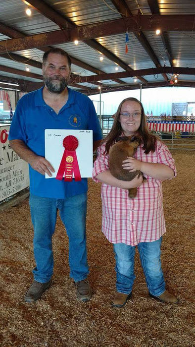 Anna Rice - 2nd Rabbit Class and 2nd Rabbit Showmanship in the Ashley County Fair!