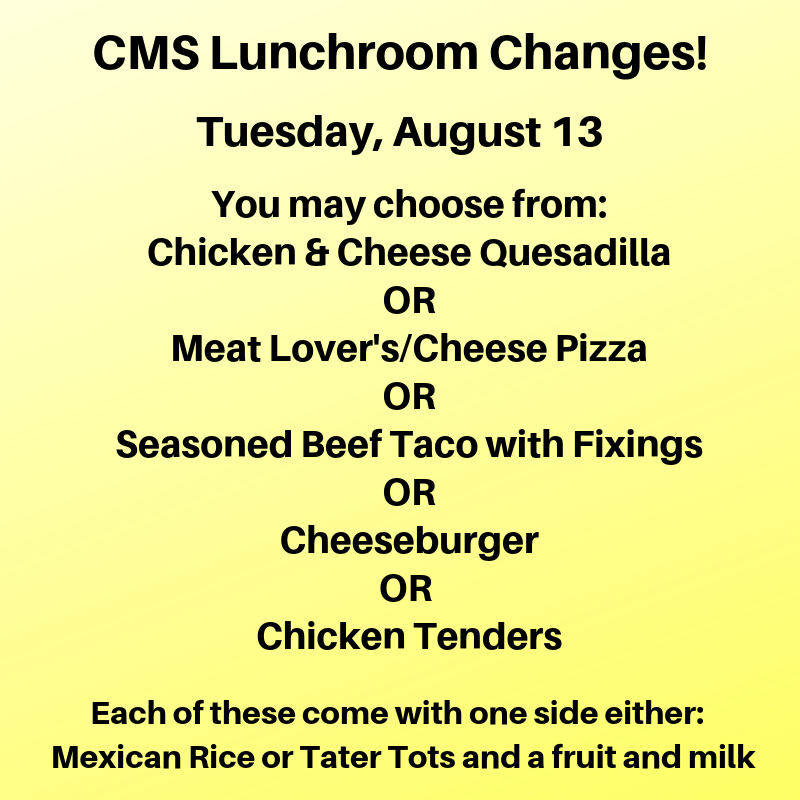 CMS Lunch Changes