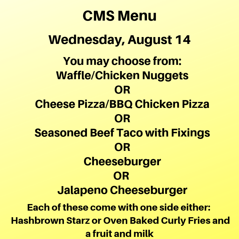 Wednesday's Lunch Menu