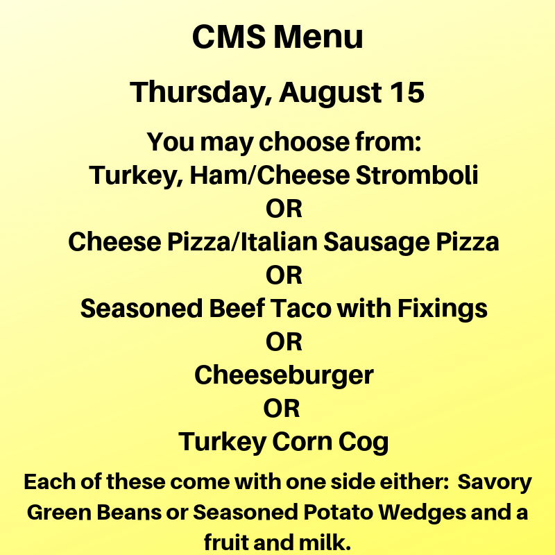 Thursday Lunch Menu