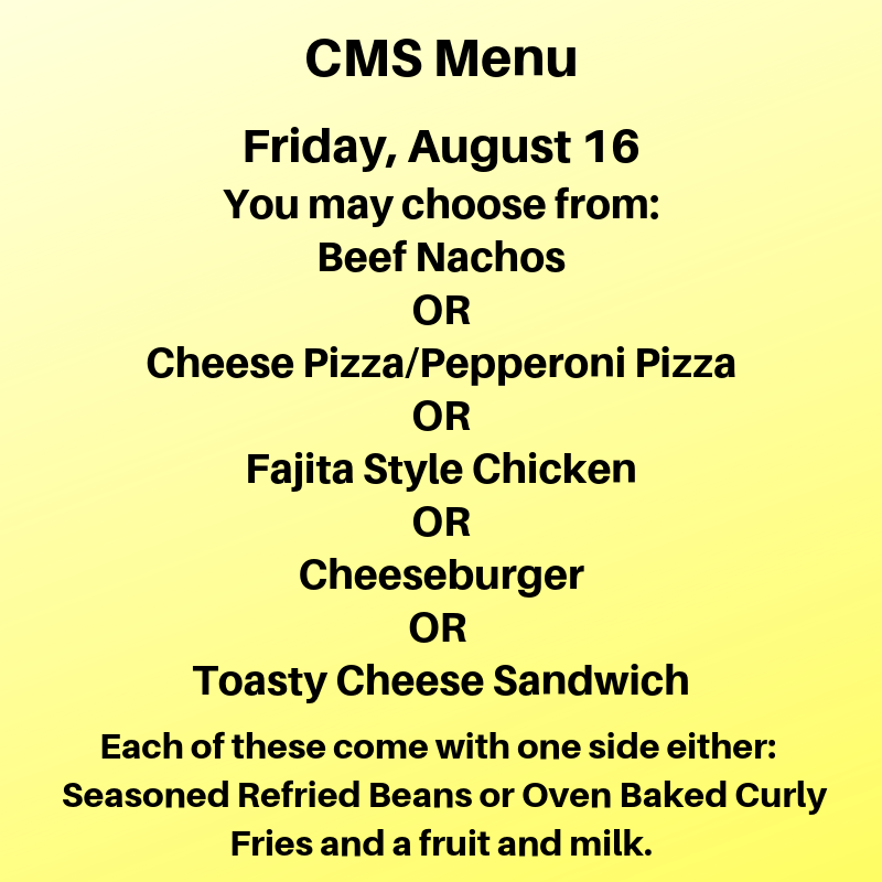 Friday Lunch Menu