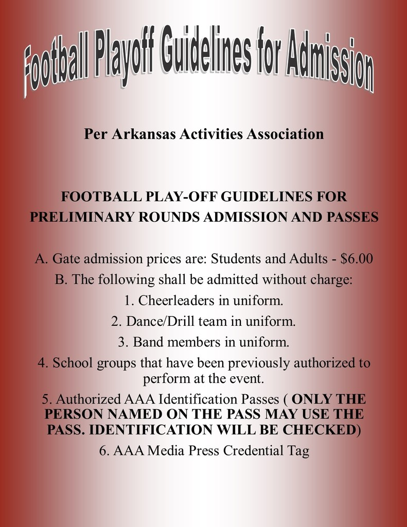 Football Playoff Guidelines for Admission
