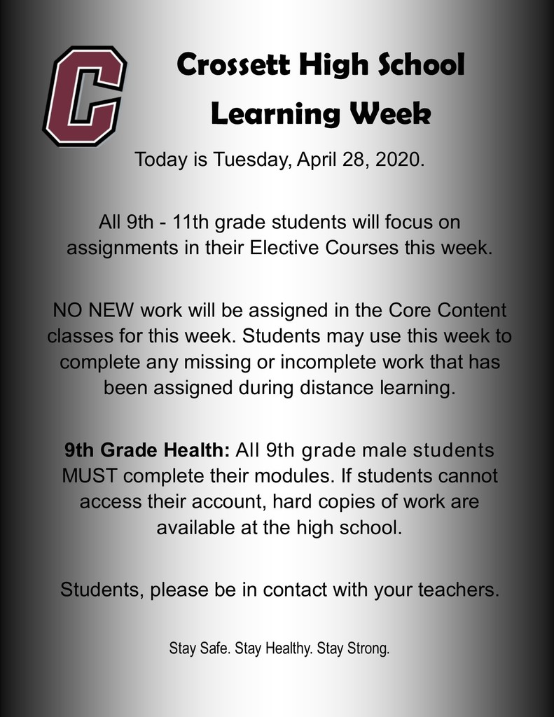 Distance Learning week of April 27