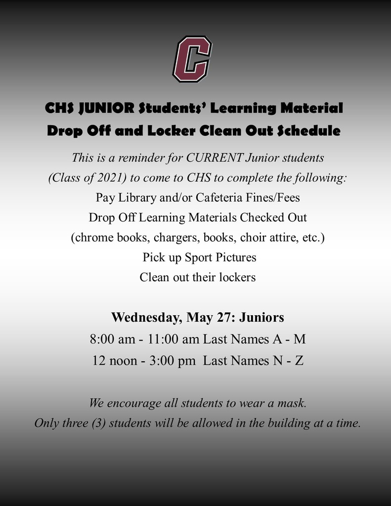Junior students drop off/clean out lockers/pay fees